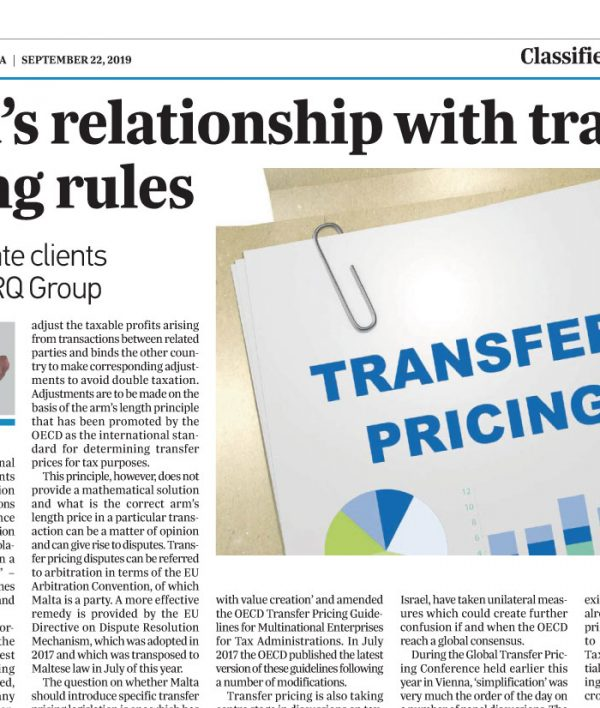 Malta's relationship with transfer pricing rules